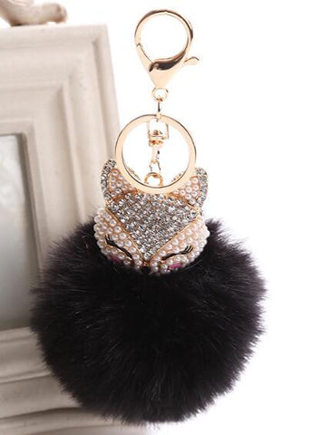 17 Colors Fur Pompom Car Keychain Fox Fur Ball with Artificial Fox Inlay Pearl Rhinestone Key Chain Cool gifts Key Women - onlinejewelleryshopaus
