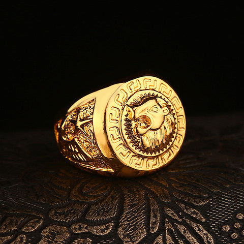 Fashion New Celebrity Style  Yellow Gold Plated Lion Head Male Ring Hip Hop Dance Punk Rock Bling Men Ring (Size:US 7-12) - onlinejewelleryshopaus