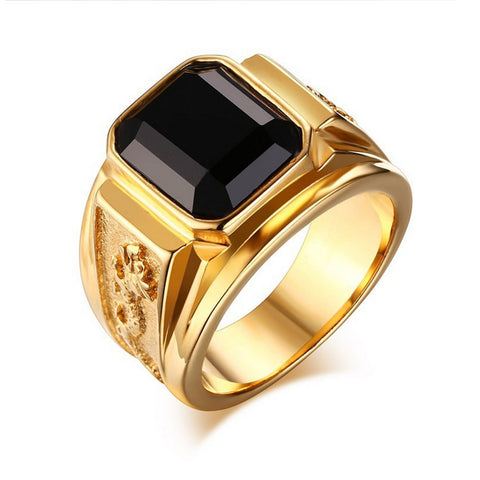 Jewelry Fashion Stainless Steel Signet Ring with Black blue Agate for Men Gold Plated Club Party Rings Bague Anillos - onlinejewelleryshopaus