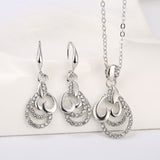 2014 Fashion Bridal Accessories Platinum Plated Retail Austrian Crystal Wedding Jewelry Sets Pendant Necklace/Drop Earrings - onlinejewelleryshopaus