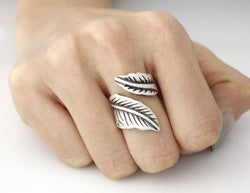 DIANSHANGKAITUOZHE 10pcs Dainty Open Double Leaf Charm Ring Men Nature jewelry Anel Antique Silver Layer Knuckle Rings for Women - onlinejewelleryshopaus
