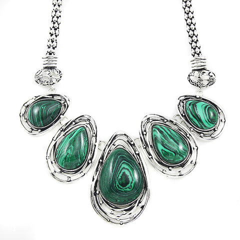 Antique Silver Chain Neck Choker Necklace Women Boho Big Malachite Stone Pendant Necklace Statement Necklace 2016 Jewelry nkem21 - onlinejewelleryshopaus