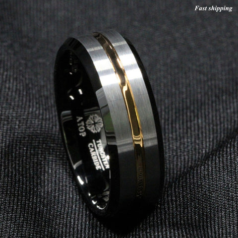 ATOP Men 8Mm Silver brushed Black edge Tungsten ring Gold inlay wedding band Free Shipping - onlinejewelleryshopaus