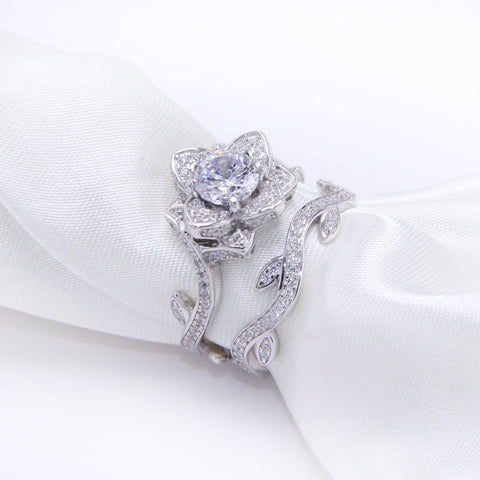 2.3 Ct Rose Flower White Gold Plated Wedding Ring For Women Engagement Bridal Sets Fast Delivery Free Shipping From USA - onlinejewelleryshopaus