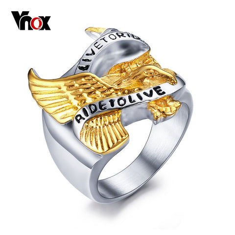 "VNOX Men Ring Polished Stainless Steel Biker Band Jewelry With Gold Eagle and ""LIVE TO RIDE,RIDE TO LIVE"" Engraved in front - onlinejewelleryshopaus"