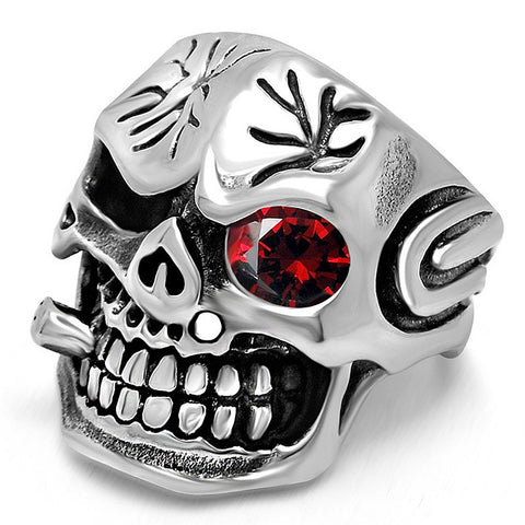 The Expendables Men's Vintage Jewelry Punk Smoking Skull Rings for Biker Men Red Zircon Setting Movie Cartoon Peripheral ACC - onlinejewelleryshopaus