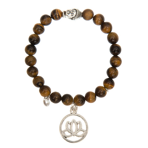 8 mm Tiger Eye Yoga Bracelet Buddha Head Lotus CZ Charms Nature Stone Bead Yoga Jewelry Energy Yoga Reiki Chakra Bracelets mujer - onlinejewelleryshopaus