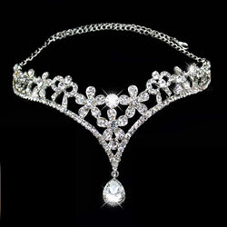 Silver Plated Crystal Indian Hair Accessories Head Jewelry Rhinestone Forehead Head Pieces Wedding Tiaras Bridal Hair Chain - onlinejewelleryshopaus