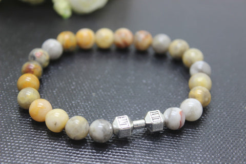 wholesale 8pcs/lot/ Natural Stone 6mm 8mm 10mm Crazy lace agate stones Beads with Zinc alloy Dumbbell Bracelets for Unisex - onlinejewelleryshopaus