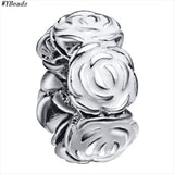 WYBEADS Unique Silver Beads Flower & Spacer CZ Charm European Fit Bracelets & Bangles DIY Accessories Jewelry Original Making - onlinejewelleryshopaus