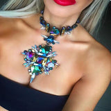 2016 Facebook Fashion Crystal Flower Statement Starburst Necklace & Pendant Necklace Collar Maxi Choker Necklace 8792 - onlinejewelleryshopaus