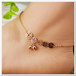 2016 Brand New Titanium Steel Anklet Bracelet Fashion Rose Gold Women Little Bell Foot Chain Jewelry - onlinejewelleryshopaus