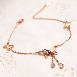 VOGUESS Hot Fashion Women Anklet Bracelet Rose Gold Color Titanium Steel Barefoot Butterfly Jewelry Leg Chain Free Shipping - onlinejewelleryshopaus