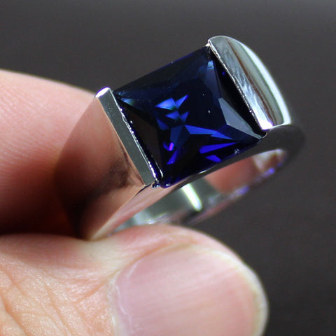 Men's Silver Sqaure Blue LAb Created Sapphire Stone Solitaire Wedding Ring Eternity Jewelry for Men - onlinejewelleryshopaus