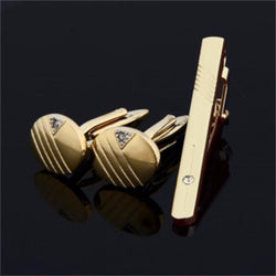 Gentleman Men Cuff Links Stainless Steel Gold Business Cutting Line Tie Clip and Cufflinks Set Hot! - onlinejewelleryshopaus