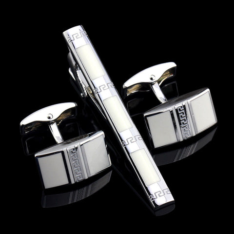 MMS Luxury Unique Disign Cufflinks Tie Clip Set White Gem Greek Square Cuff Links Tie Bar Set for Mens' Gift - onlinejewelleryshopaus