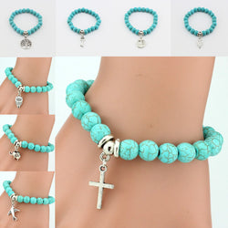 Hot 1 Pc Women Lady Fashion Trendy Popular 11 Styles Turquoise Beads Cross Key Owl Elephant Bracelet - onlinejewelleryshopaus