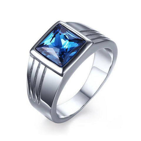 Male Stainless Steel Ring Blue Stone Jewelry Ring for Men Wedding Engagement Titanium CZ Diamond Ring Wholesale - onlinejewelleryshopaus