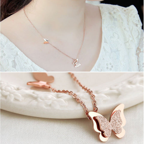 2015 Summer Style Smart Butterfly Pendant Necklace For Woman Titanium Steel Rose Gold Plated Fashion Jewelry Gift Free Shipping - onlinejewelleryshopaus