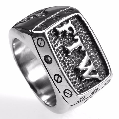 FTW Middle Finger Motor Biker Ring Stainless Steel Jewelry Mechanical Screw Motorcycle Biker Men Ring - onlinejewelleryshopaus