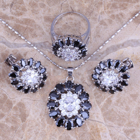 Wonderful Black Created Sapphire White CZ Silver Jewelry Sets Earrings Pendant Ring Size 6 / 7 / 8 / 9 / 10 S0428 - onlinejewelleryshopaus