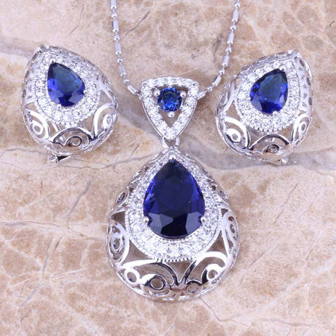 Stunning Blue Created Sapphire White CZ Silver Earrings Pendant Necklace Jewelry Sets S0740 - onlinejewelleryshopaus
