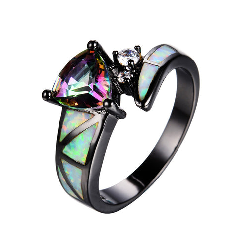 Women Vintage Wedding Rings 10KT Black Gold Filled Jewelry Mystic Rainbow Stone White Fire Opal Ring Anel Fashion Jewelry RB0989 - onlinejewelleryshopaus