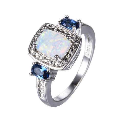 Rectangle White Fire Opal Rings for Women Men Wedding Jewelry White Gold Filled Blue Stone CZ Diamond Crystal Ring RP0080 - onlinejewelleryshopaus