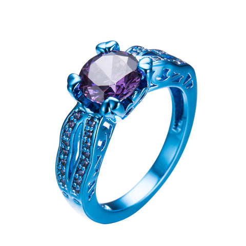 Vintage Blue Gold Filled Classic Round Purple Halloween Rings For Women Men Punk Jewelry Purple CZ Crystal Wedding Ring RC0037 - onlinejewelleryshopaus