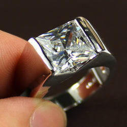 Men's Silver Sqaure Stone Simulated Diamond Solitaire Wedding Ring Eternity Jewelry for Men - onlinejewelleryshopaus