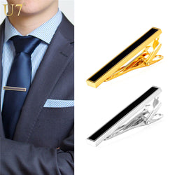 U7 2016 Gold Black Tie Clip For Men's Gifts Classic Gold Plated Business / Groom Suit Men Necktie Clip Clasp TC003 - onlinejewelleryshopaus