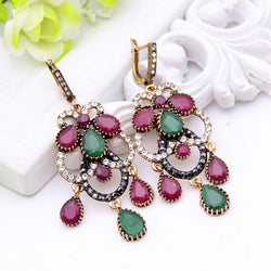 Vintage Ethnic Tassel Turkish Earrings For Women Color Crystal Long Drop Earring Jewelry Resin Brinco Grande From India Wedding - onlinejewelleryshopaus