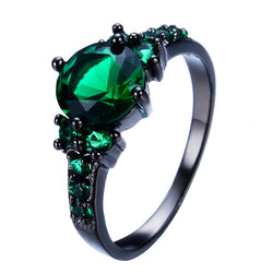 Vintage 8mm Green Jewelry Women Wedding Ring anel Retro Black Gold Filled Green CZ Fashion Engagement Band Rings RB0064 - onlinejewelleryshopaus