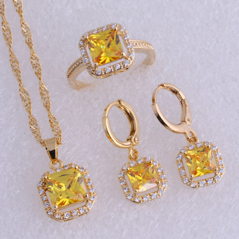 Exquisite Yellow Imitation Citrine & Cubic Zirconia Square Yellow Gold Plated  Hoop Earrings Jewelry Sets SX0187 - onlinejewelleryshopaus
