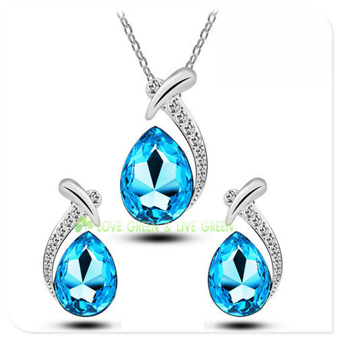 free shipping promotion party brand bridal fish Austrian Crystal fashion water tear drop pendant necklace earrings jewelry sets - onlinejewelleryshopaus