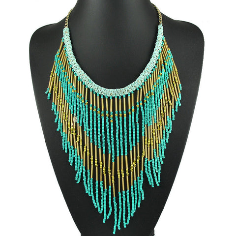 2016 Hot Sale New Collars Jewelry Bohemia Vintage Fashion Necklaces Beaded Long Tassel Punk Necklace For Women Fine Jewellery - onlinejewelleryshopaus
