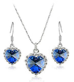 Free Shipping Gift Bag Titanic Rose classic Blue Austrian Crystal The Ocean Heart Pendant Necklace earrings fashion jewelry set - onlinejewelleryshopaus