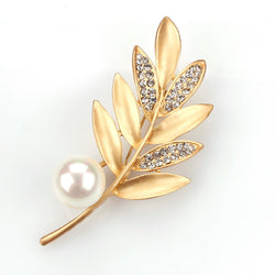 Matte Gold and Silver Plated Elegant and Stylish Fashion Leaf Brooch Pins with Imitation Pearls in Assorted - onlinejewelleryshopaus