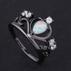 2017 New Crown Black Gold Plated Elegant Engagement White Fire Opal Ring With AAA+ CZ Diamond Best Gift Wedding Ring White Opal - onlinejewelleryshopaus