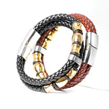 2017 Top Fashion Brand Genuine Leather Men's Bracelets Popular Knight Courage Bracelets Stainless Steel Charm Bracelets. - onlinejewelleryshopaus