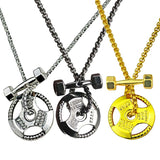 Fitness Gym Jewelry Athlete Dumbbell Pendant Necklace Barbell Weight Plate Weightlifting Combo Necklace Gift For Him 23in - onlinejewelleryshopaus