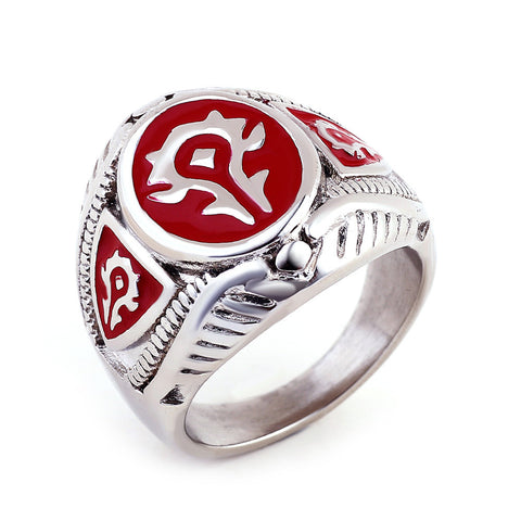 Red Black Color Fashion Jewelry World of Warcraft 316L Stainless Steel Hot WOW Ring - onlinejewelleryshopaus