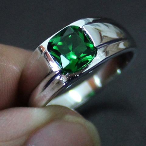 Green Square Created Emerald Gem Crystal Stone Solitaire Silver Wedding Ring for Men - onlinejewelleryshopaus