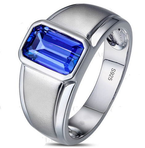 Men's Silver Oblong Blue CZ Crystal Stone Solitaire Wedding Ring Eternity Jewelry - onlinejewelleryshopaus