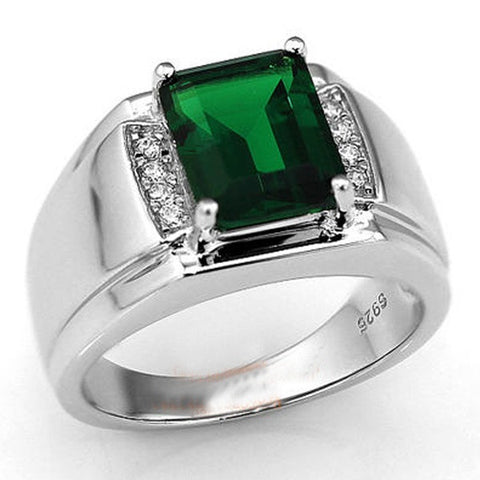 Handmade Men's Silver Oblong Green Created Emerald CZ Stone Ring Eternity Jewelry - onlinejewelleryshopaus