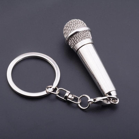 High Quality Metal Microphone Keychain New Design Key Holder Keyring Creative Musical Instruments Key Chains Ring Gifts A0 - onlinejewelleryshopaus