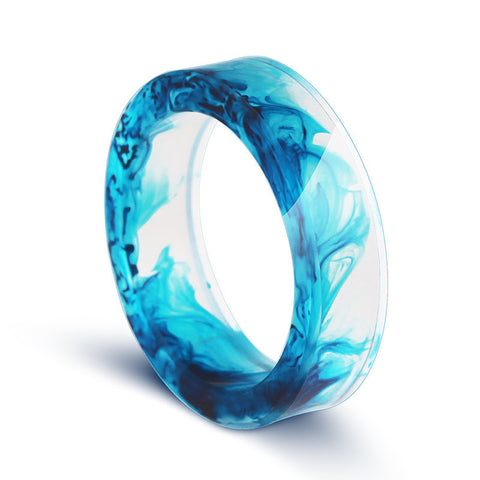 2016 hot hand wood ring resin blue transparent ring fog inside the Secret WeddingJewelry Anillos magic man woman - onlinejewelleryshopaus
