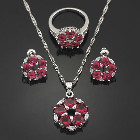Free Gift Box Stylish Garnet  Women Jewerly Sets Necklace Pendant Stud Earring Ring Size 6 7 8 Bridal Jewelry Sets T014G - onlinejewelleryshopaus