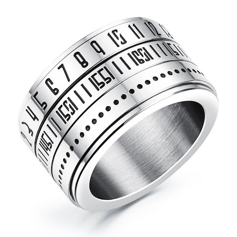 Nunber Secert Codes Design Rotatable Spinner Ring For Cool Man Punk Style Stainless Steel Fashion Jewelry O-ring Collar - onlinejewelleryshopaus