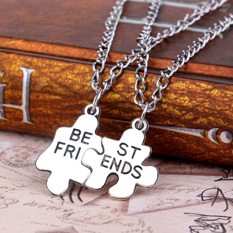 10 Set/lot Best Friends BFF Puzzle Necklaces Exquisite Pendant Necklace Silver Plated Friendship Jewelry Party Gifts Charm - onlinejewelleryshopaus